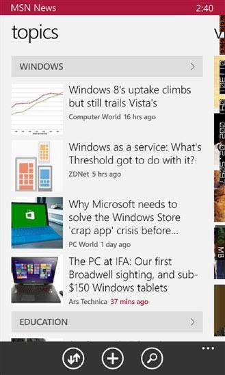 اخبار را با برنامه News در گوشی های ویندوز فون تجربه کنید