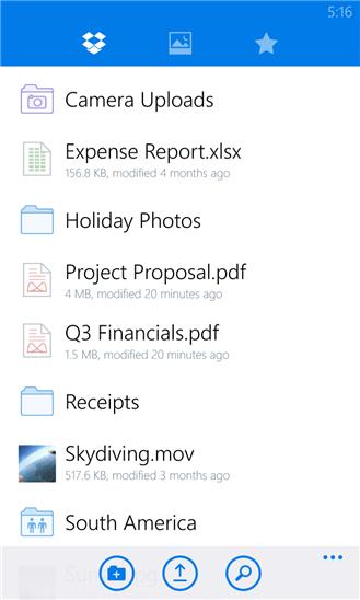 دانلود نرم افزار فضای رایگان ذخیره اطلاعات Dropbox برای ویندوز فون