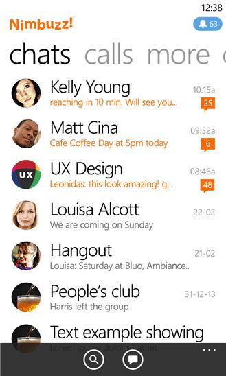 دانلود نرم افزار چت نیمباز Nimbuzz برای ویندوز فون