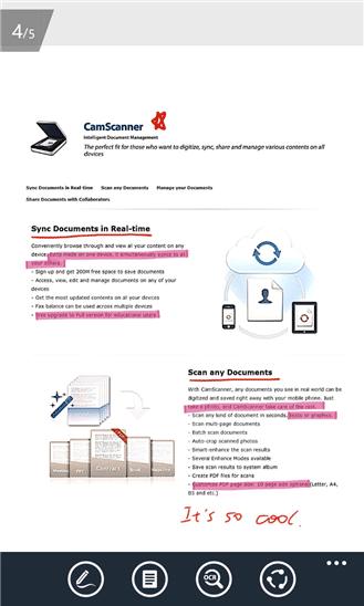 نرم افزار اسکن متن و تصویر CamScanner برای ویندوز فون