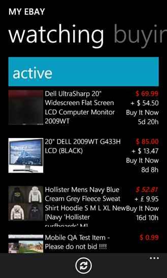 فروشگاه اینترنتی eBay برای ویندوز فون