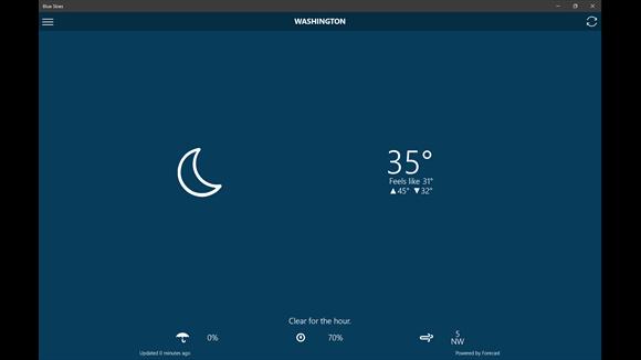 اپلیکیشن هواشناسی Blue Skies برای ویندوز فون